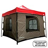 Camping Tent attaches to any 10x10 Easy Up Pop Up Canopy Tent with 4 Walls, Mesh Ceiling, PVC Floor, 2 Doors and 4 Windows - Standing Tent - Family Room Tent - TENT FRAME AND CANOPY NOT INCLUDED
