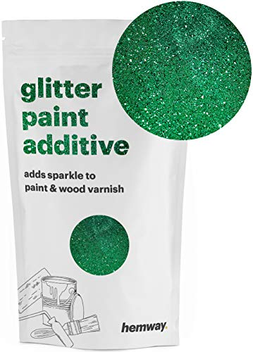 Hemway (Emerald Green) Glitter Paint Additive Crystals 100g/3.5oz for Acrylic Latex Emulsion Paint - Interior Exterior Wall, Ceiling, Wood, Varnish, Dead flat, Matte, Gloss, Satin, Silk