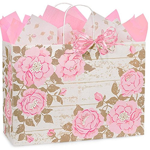 Cottage Rose Garden Paper Shopping Bags - Vogue Size - 16 x 6 x 12in. - 200 Pack by NW