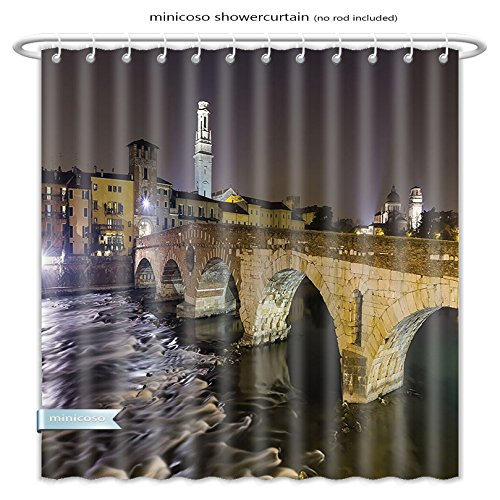 Minicoso Shower Curtains Apartment Decor Ponte Pietra On River Adige Ancient Roman Bridge In The Old Town Of Verona Italy Black Beige Polyester Fabric For Bathroom Size-66