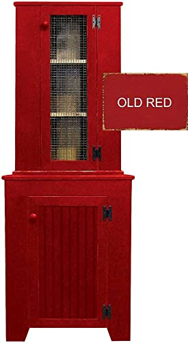 Sawdust City Kitchen Corner Hutch Set Old Red