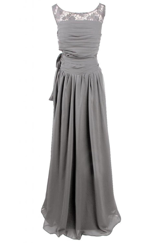 Sunvary Elegant Chiffon Lace Sheath Bateau Fold Evening Dress Mother's Dress