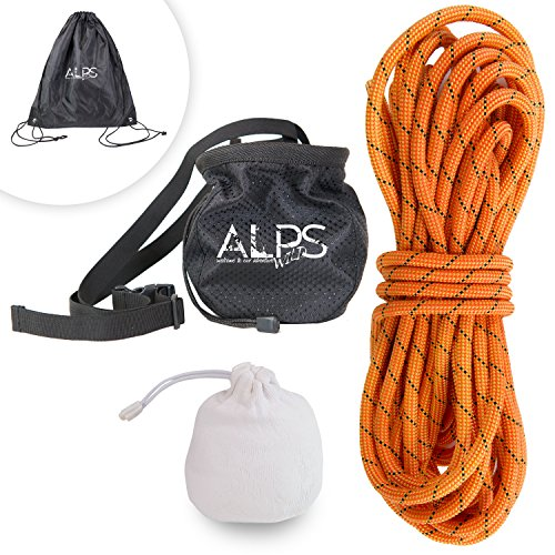 ALPS WILD Climbing Rope Set: Dynamic Rock Climbing Nylon Rope in 115, 131, or 164 Feet Plus Chalk Ball, Chalk Bag, and Rope Bag for Outdoor Activities (35)
