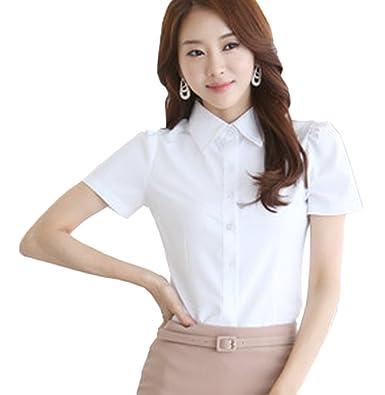 ef9e082d80dff1 Amazon | ZUOMAレディース 制服 白シャツ 通勤OL インナー オフィスtシャツ 春夏用 フォーマル 日常着用 大きいサイズ 無地 |  事務服・オフィス制服 通販