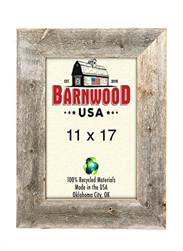 BarnwoodUSA Rustic 11 by 17 Inch Picture Frames 3 Inch Wide – 100% Reclaimed Wood, Weathered Gray Review