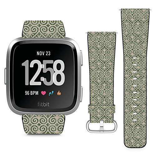 Compatible with Fitbit Versa // Leather Replacement Bracelet Strap Wristband with Quick Release Pins // Heart - Scroll Heart Bracelet
