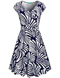 Church Dresses for Women,Kimmery Ladies Short Sleeve Boutique Dress Notch V Neck Pleated Front High Waist Formal Outfits Knee Length Breathable High Stretchy Gorgeous Looking Clothing Navy Blue Medium
