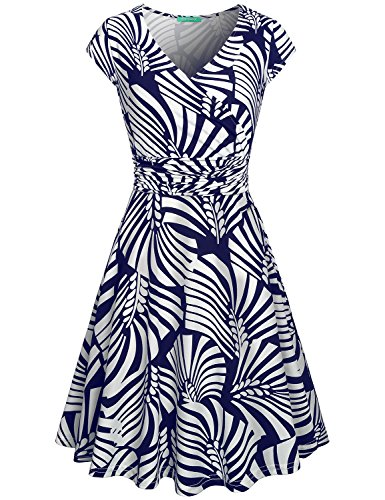 Church Dresses for Women,Kimmery Ladies Short Sleeve Boutique Dress Notch V Neck Pleated Front High Waist Formal Outfits Knee Length Breathable High Stretchy Gorgeous Looking Clothing Navy Blue Medium by Kimmery