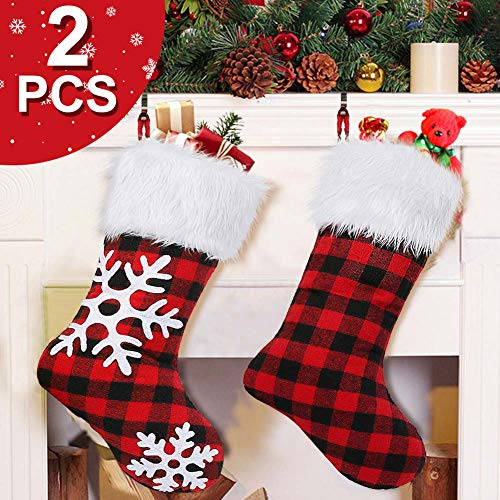 OurWarm 2 Pack Plaid Snowflake Christmas Stockings, 18 inch Large Red and Black Buffalo Check Christmas Stockings with Plush for Christmas Decorations