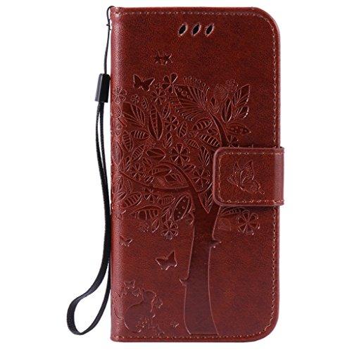 iPhone 6 Plus / 6S Plus Schutzhülle , LH® (Kaffee Kontext) Schmetterling Baum Flip PU Ledertasche Ständer Schale Tasche Hülle Case Cover mit Kreditkartensteckplätze für Apple iPhone 6 Plus / 6S Plus 5