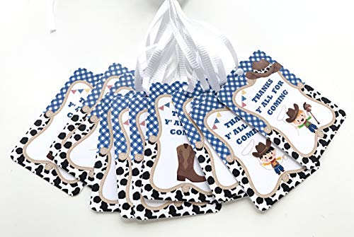 Cowboy Thank You Tags 12 pcs - Blue Western Favors Birthday Decoration Party Supplies, Boy Rodeo Baby Shower -