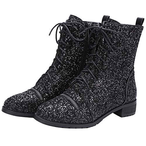 Heel Chunky Schwarz Glitzer und Kurzschaft Stiefel Reißverschluss Schnürung Damen mit AIYOUMEI Stiefeletten z8qBCUwxq