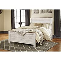 Willannet Casual Whitewash Color Wood Queen Panel Bed