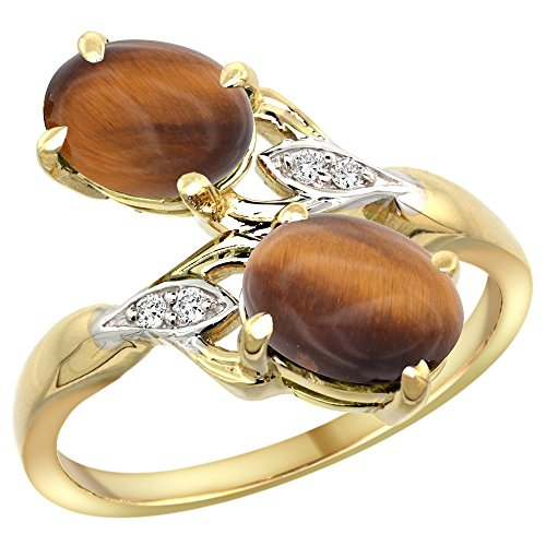 10K Yellow Gold Tiger Eye 2-stone Mother's Ring Oval 8x6mm Diamond Accents, 3/4 inch wide, size 7.5 10k Gold Tiger Eye