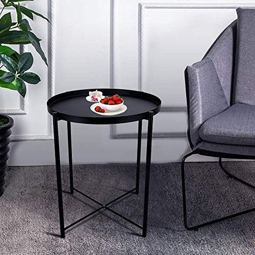 Round Metal Side Table - 20'' Tall Reversible Tray Small End Table, Modern Steel Patio/Garden/Sofa/Coffee/Bed/Nesting Tables Nightstand for Living Room Bedroom Decor Indoor Outdoor (Black) ()