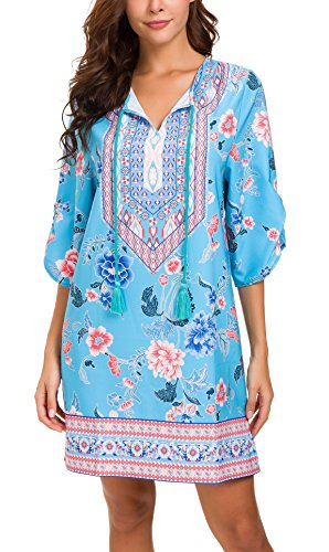 - Women Bohemian Neck Tie Vintage Printed Ethnic Style Summer Shift Dress (2XL, Pattern 14)