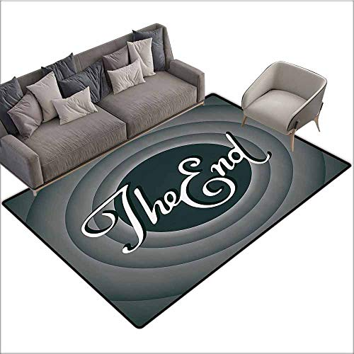 1950s Decor Collection Vintage Movie Ending Screen Camera Hollywood Industry Historic Entertainment Film Television Image Area Rug W78 x L118 Grey -