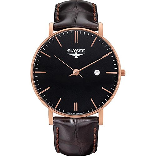 ELYSEE MEN'S ZELOS 40MM LEATHER BAND ROSE GOLD PLATED CASE QUARTZ WATCH 98005