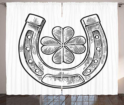 - Ambesonne Clover Curtains, Good Luck Themed Illustration of Shamrock and Horseshoe Engraved Style, Living Room Bedroom Window Drapes 2 Panel Set, 108 W X 90 L Inches, Charcoal Grey and White