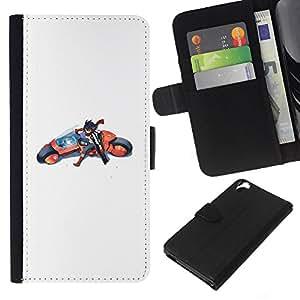 LECELL--Cuero de la tarjeta la carpeta del tirón Smartphone Slots Protección Holder For HTC Desire 820 -- Japonesa Moto Cartooon --