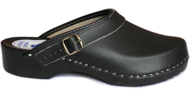 BeComfy Zapatillas de hombres de cuero, negro, suela de madera, tamaños 40-46, model VK52 (45, Negro)