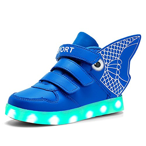 Kids Wing Led Light Up Sneakers Flashing Rechargeable shoes for Kids Boys and Girls (Blue 10 M US Toddler)