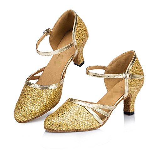 Frauen Chunky Ferse Glitter Leder Kuh Wildleder Salsa Tango Knöchel Strappy Wölbung Geschlossene Zeh Tanz Schuhe Ballsaal Latin Sandalen Gold A