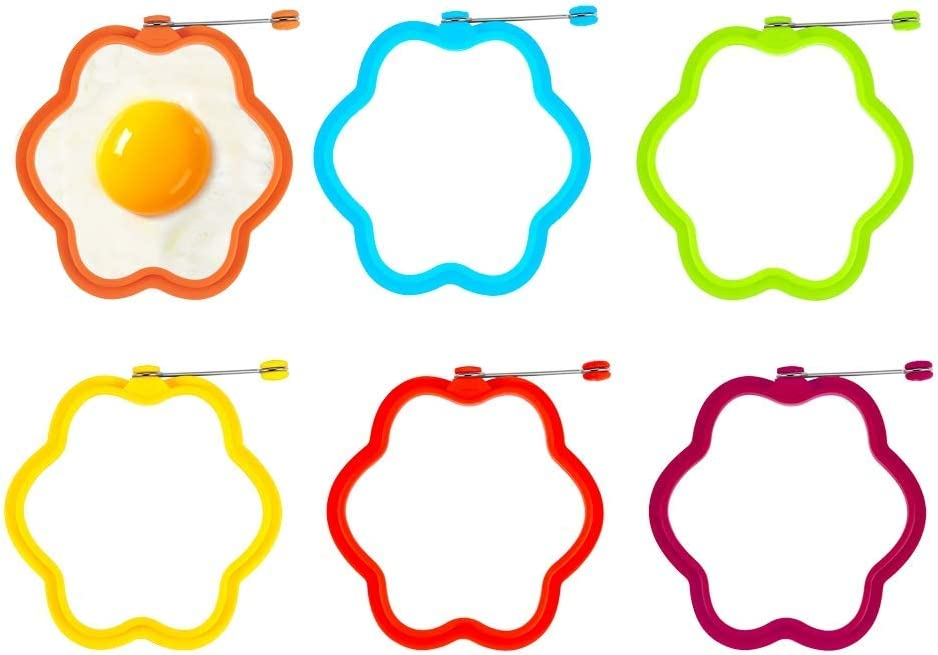 Egg Ring, VOVO 6 Pack 100% Food Grade Egg Cooking Rings, Round Pancake Mold BPA Free, Durable & Reusable Silicone Ring Eggs, Non Stick Silicone Ring for Eggs (flower)