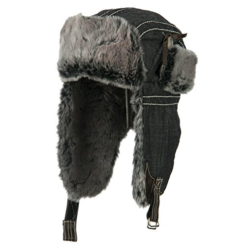 Chambray Faux Fur Trooper Hat - Black OSFM