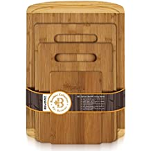Bamboo Chopping Board Set of 4 - Eco-Friendly Bamboo Cutting Boards with Drip Groove for Food Prep, Meat, Vegetables, Fruits, Crackers & Cheese - 100% Organic, Premium Craftsmanship By: Bambüsi