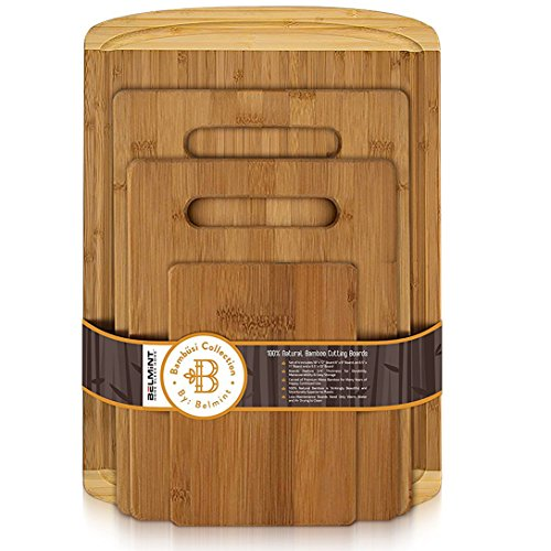 Bamboo Cutting Board Set of 4 - Wood Chopping Boards with Juice Groove for Cutting Vegetables, Meat, Fruits and Cheese | 100% Bamboo ()