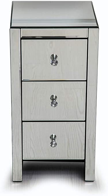 Other Mirrored Glass Bedside Table Cabinet 3 Drawers And Crystal