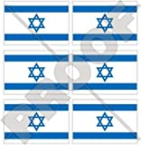 "ISRAEL Israeli Flag Jewish 40mm (1,6"") Mobile Cell Phone Vinyl Mini Stickers, Decals x6"