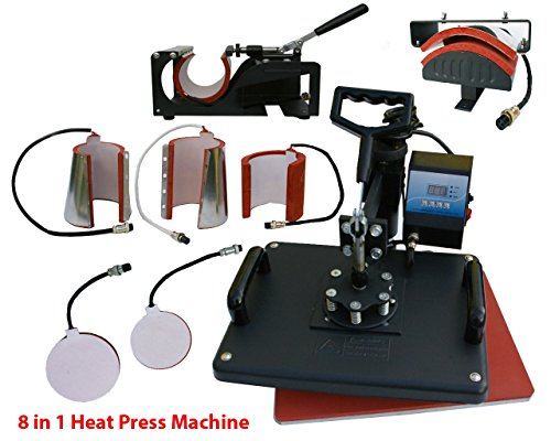 Denshine 8 in1 Heat Press Machine Digital T-Shirt Mug Hat Plate Cap Transfer Sublimation (Shirt Making Machine)