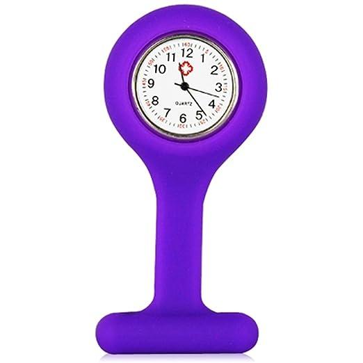 15 opinioni per TRIXES Orologio da infermiere in silicone con spilla- orologio tascabile viola
