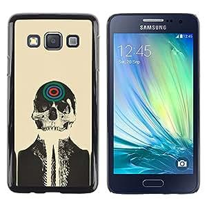 QCASE / Samsung Galaxy A3 SM-A300 / cráneo arte esqueleto cabeza pintura dibujo de destino / Delgado Negro Plástico caso cubierta Shell Armor Funda Case Cover
