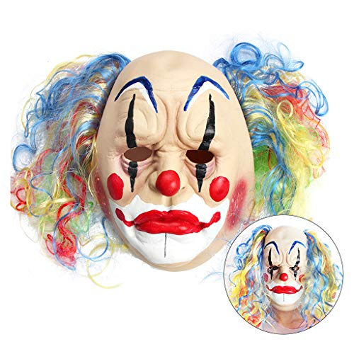 OWUDE Scary Clown Mask, Horror Creepy Latex Clown Masks for Adult Haunted House Dressing Halloween Costume Masquerade Party Cosplay Props (Curly Bald Clown)