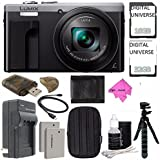 Panasonic Lumix DMC-ZS60 Digital Camera (Silver) + 32GB + 16GB + Rechargable Li-Ion Battery + Small Carrying Case + Charger + HDMI Cable + Card Reader + Small Tripod Bundle INTERNATIONAL MODEL