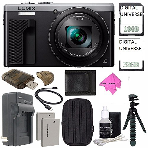 Panasonic Lumix DMC-ZS60 Digital Camera (Silver) + 32GB + 16GB + Rechargable Li-Ion Battery + Small Carrying Case + Charger + HDMI Cable + Card Reader + Small Tripod Bundle INTERNATIONAL - Cable Panasonic