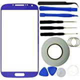 Samsung Galaxy S4 Screen Replacement Kit including 1 Replacement Screen Glass for Samsung Galaxy S4 i9500 / 1 Pair of Tweezers / 1 Roll of 2mm Adhesive Tape / 1 Tool Kit / 1 ECO-FUSED Microfiber Cleaning Cloth (Purple)