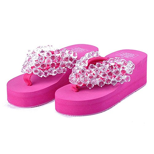 Beaded Flip Heels Holiday Crystal Beach High T Flops JULY Sandals Summer Women's Rose with qInpgwv