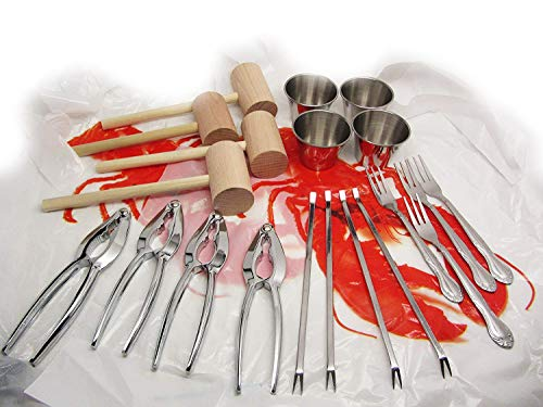 24pc Lobster Bake Crab Shellfish Seafood Tool Kit Metal Crackers Picks Forks Mallets Bibs
