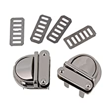 BQLZR Silver 31 x 24 x 30mm Closure Catch Tuck Lock for Leather Bag Clasp Purse Pack of 2