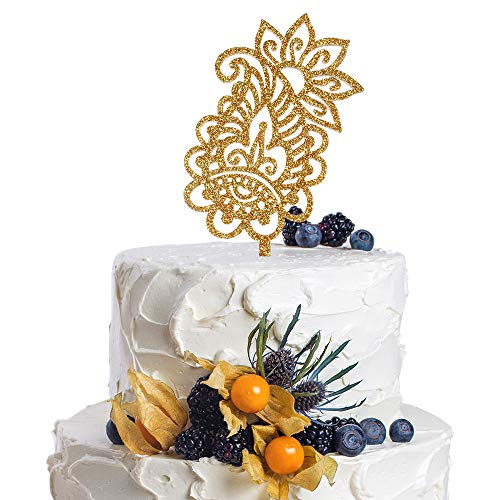 (Paisley Symbol Gold Glitter Cake Topper Celebrate Wedding Anniversary Bridal Shower Groom Party Decorations.)