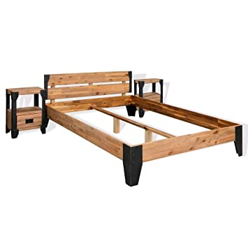 vidaXL Estructura de cama y 2 mesitas de noche acacia+acero 180x200cm: Amazon.es: Hogar