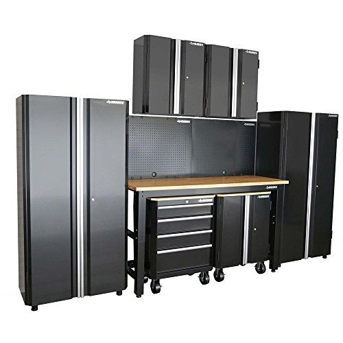 Husky Garage Cabinet Set in Black 8-Piece (98 in. H x 145 in. W x 24 in. Steel Cabinet) (Husky Storage)