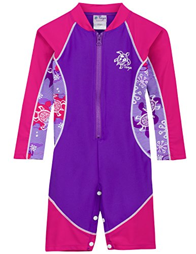 Baby L/s One Piece - Tuga Girls High Tide L/S Swimsuit (UPF 50+), Purple Wave, 6-12 mos