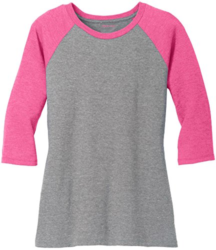 (Joe's USA Ladies 3/4 Raglan Baseball T-Shirt-Fuchsia/Grey-4XL)