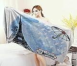 Anniutwo Eiffel Tower,Bath Towel,Surreal Watercolors Paint Eiffel Tower Rain Splashes Paris Culture Landmark,Bathroom Towels,Blue Size: W 27.5'' x L 55''