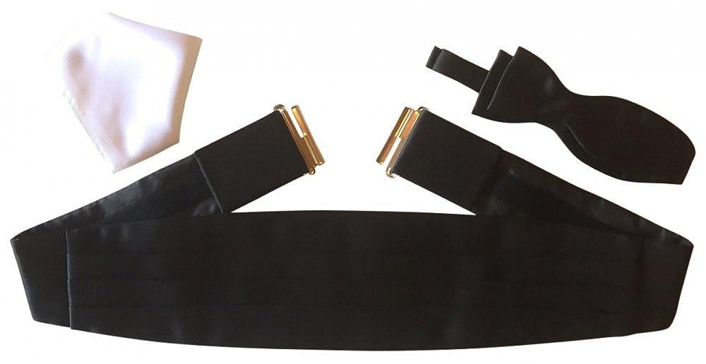 Kummerbund-Set Gentleline XL, schwarz/weiß, Fliege zum Selberbinden schwarz/weiß